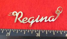 """14KT GOLD EP """"REGINA"""" PERSONALIZED NAMEPLATE WORD CHARM PENDANT 6338"""