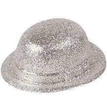 Silver Glitter Bowler Hat Adult Size