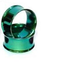 1 PAIR 9/16 INCH GAUGE GREEN TITANIUM ANODIZED DOUBLE FLARE EAR PLUGS TUNNELS