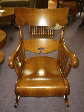 Antique Oak Rocking Chair w/ arms tiger quarter sawn Oak Refinished reglued 1900