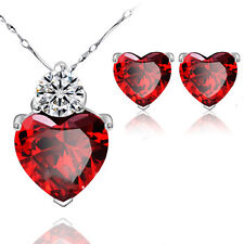 Trendy Lions Ellegant Red Heart  Zircon Pendant Set Women's Wedding Gift