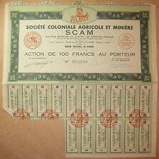 SCAM Société Coloniale Agricole et Minière - Action de 100 francs au porteur