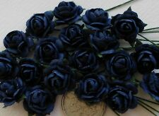 100 Cute Handmade Mulberry Paper Roses - 10MM - Deep Navy Blue Rose Topper!