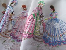 Vintage Hand Embroidered Linen Table Cloth-PRETTY CRINOLINE LADIES & FLORALS