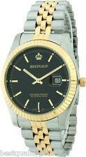 REGINALD CLASSIC TWO 2 TONE STAINLESS STEEL,BLACK DIAL,WATERPROOF+DATE MEN WATCH