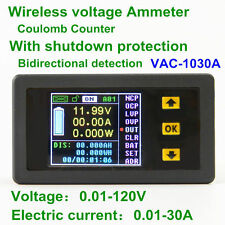 VAC1030A Wireless Power Meter Bi-color DC Voltage Current Ammeter LCD 0.01-30A