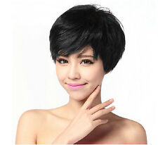 Handsome Boys Wig Layer Short Natural Black Men's Synthetic hair Cosplay Wigs