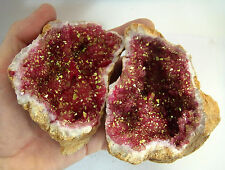 HUGE PAIR RED & GOLD QUARTZ SELENITE CRYSTAL GEODE FERTILITY 725g 120mm st199