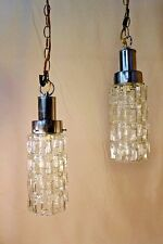 Pair Ice Cube Glass Cylinder Pendant Lights MCM Kalmar Chrome Hanging Lamp