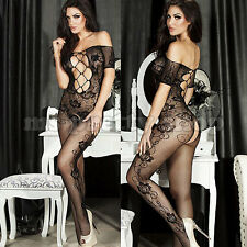 One Size 8 - 12 Mesh Whalenet  and Fishnet Rose Pattern Crotchless Bodystocking