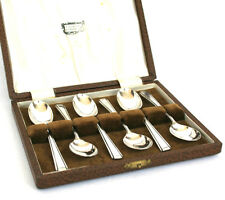 Vintage Silver Plated Coffee Tea Spoons Cased Set of 6 Harley Pattern Art Deco