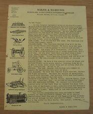 "ORIGINAL 1890's ADVERTISING Flyer~""BAKER & HAMILTON"" Agricultural Implements~"