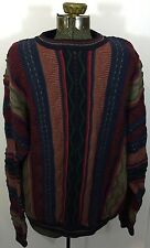 Vintage 80s 90s Mens Sweater Size XL Textured Striped Cotton Traders Patterned