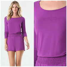 BEBE PURPLE RUCHED LOGO ROMPER JUMPSUIT NEW NWT LARGE L