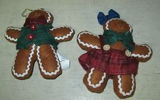 COLLECTIBLE 2 GINGERBREAD MEN STUFFED ORNAMENTS
