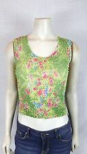 Bloom NEW Green Pink Crinkle Scrunch Popcorn Sheer Tank Top Women One Size