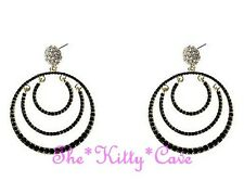 Large Dramatic Black 14KGP Gold Chic Catwalk Creole Hoop Crystal Bling Earrings