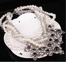 CHUNKY WHITE TWIST FAUX PEARL BLACK DIAMANTE CRYSTAL NECKLACE, EARRINGS SET