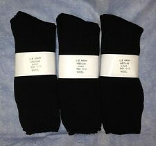 6pr Men's US Army WOOL Blend CREW Boot Socks w/ Cushion Sole BLACK LG 10-13