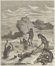 C1001 Popoli Selvaggi - Nani della Terra dei Fuochi - Stampa - 1879 Engraving