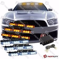 54 LED White & Amber Emergency Truck Car Strobe Flash Light Front Rear Grill