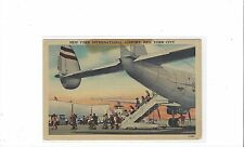 TWA Airlines constellation at New York inter/l airport linen postcard