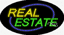 "NEW ""REAL ESTATE"" 27x15 OVAL SOLID/ANIMATED LED SIGN w/CUSTOM OPTIONS 24121"