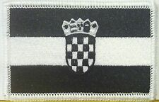 CROATIA Flag Patch With VELCRO® Brand Fastener B & W Tactical White Border