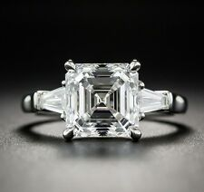 2.10ct White Asscher Cut Diamond 925 Sterling Silver Solitaire with Accents Ring