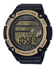 Casio AE3000W-9A Black Gold Sports Watch - 3 City Time - 100M 10 Year Battery