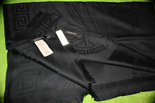 Versace Authentic Black Wool Scarf Medusa Logo Luxury Shawl Wrap 72x30 inches