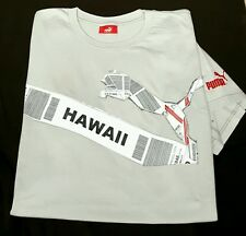 New! PUMA 'Hawaii'- Gray, Combed Cotton, SS Graphic Print Tee- size L