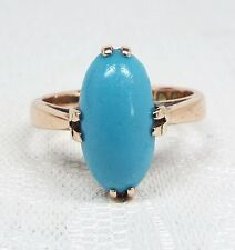 Antique 1913 Edwardian Art Deco 9ct Gold Turquoise Cabochon Claw Set Ring Size M