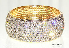 Beautiful 10 Row Gold Diamante Crystal Bangle Diamonte Bracelet