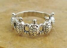 AWESOME STERLING SILVER MULTIPLE TURTLE RING size 7  style# r0083