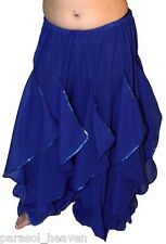 BLUE ENDLESS WAVE HAREM PANTS, CHIFFON & SEQUINS for BELLY DANCE, From  INDIA