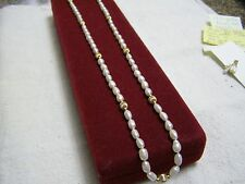 BIWA FRESH WATER PEARLS WITH 14K GOLD FILLED BEADS AND MATCHING EARRINGS