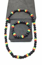 RASTA Necklace & Bracelet Set Reggae one love color Marley jamaica chain New