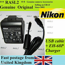 Genuine Original NIKON EH-68P Charger AC Adapter CoolPix S8000 S8100 S640 S80 70