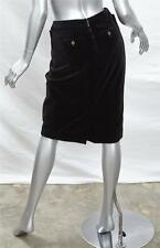 YVES SAINT LAURENT Womens Black Velvet High-Waisted Short Pencil Skirt 44 NEW