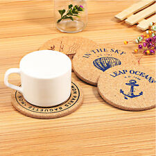 Portable Cork Wood Drink Coaster Flexible Table Heat Resistant Round Drinks Mat
