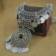 Women Vintage Coins Chain Pendant Statement Jewelry Choker Chunky Bib Necklace