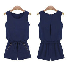 Women Sleeveless Bowknot Casual Short Pants Jumpsuit Romper Playsuit 2016