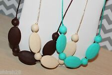 3 Necklaces Silicone Baby Teether Teething Nursing Jewelry Brown Turquoise Beige