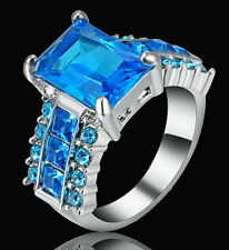 CZ Aquamarine Ring 10KT White Gold Filled Women's Wedding Party Jewelry Size 7