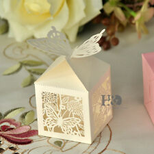 12pcs Ivory Laser Cut Butterfly Favor Candy Gift Boxes Wedding Party Baby Shower