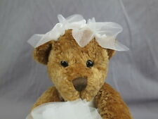 BRIDE TO BE BROWN TEDDY BEAR WEDDING DRESS PLUSH STUFFED ANIMAL FUKEI TOY