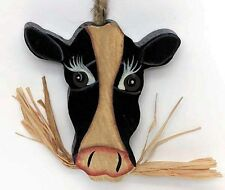 """3x3.5"""" Primitive Country Wood COW Face KITCHEN Home Wall Decor Wooden Cows Sign"""