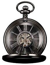 Kronen & Söhne Steampunk Mechanical Black Smooth Case Pocket Watch + Pendant