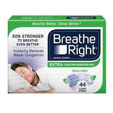 Breathe Right Nasal Strips, Extra Clear For Sensitive Skin (44 ct.) Green